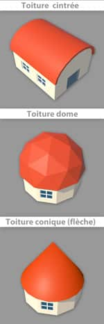 toit dôme, toit cintré, toit conique, flèche ou tourelle
