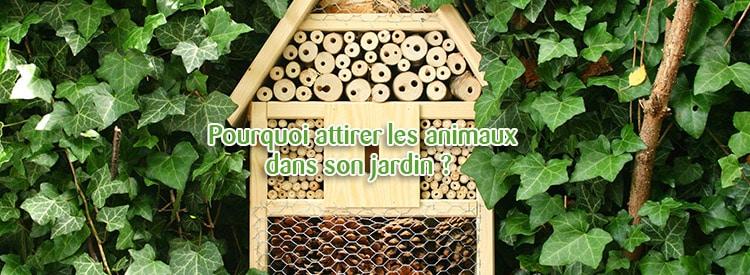animaux dans le jardin et hôtel à insectes