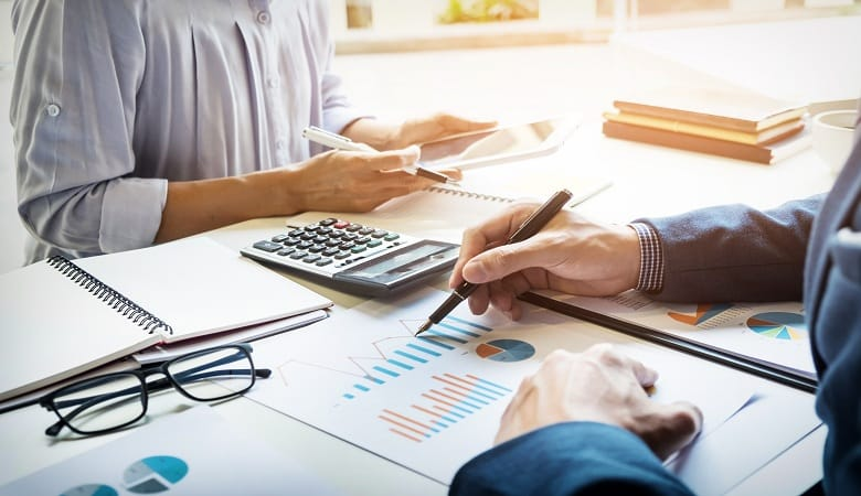 business man financial inspector and secretary making report, ca