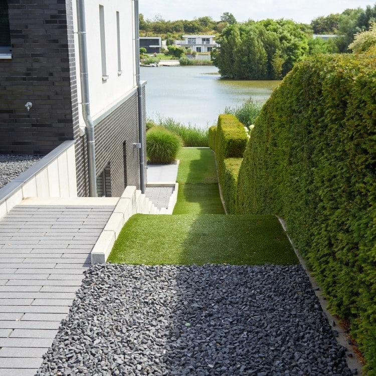 bordure jardin terre gravier