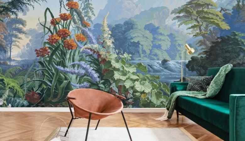 salon avec papier peint panoramique